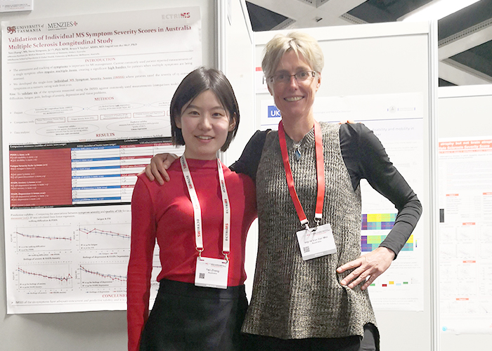 Associate Professor Ingrid  van der Mei and her student Yan Zhang present their work  on symptom severity using the AMSLS at ECTRIMS.