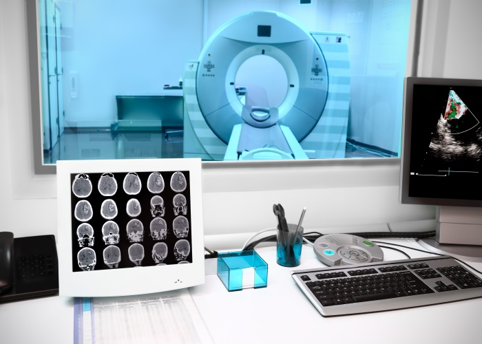 in CT laboratory. Observation room in an office with a computer tomograph